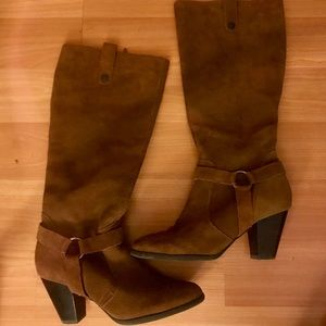 Tall Tan Suede Boots